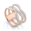 Rose Gold Vermeil Riva Diamond Wave Triple Ring - Diamond - Monica Vinader