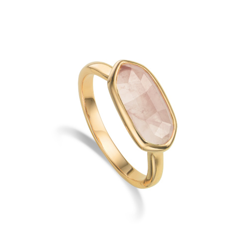 Gold Vermeil Vega Ring - Rose Quartz - Monica Vinader