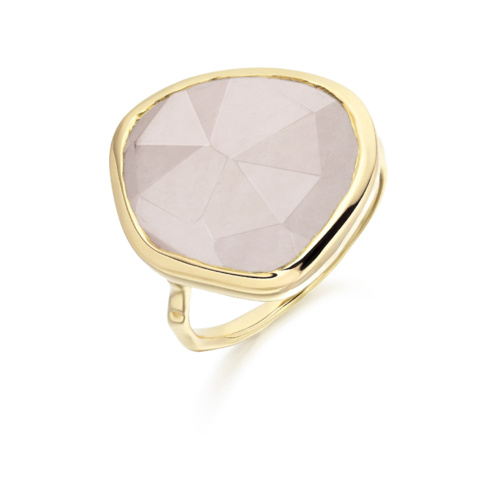 Gold Vermeil Siren Ring - Rose Quartz - Monica Vinader