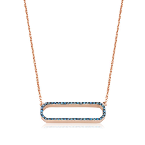 Rose Gold Vermeil Naida Rectangle Open Necklace - Blue Diamond - Monica Vinader