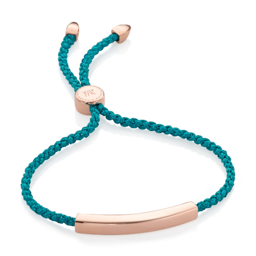 Rose Gold Vermeil Linear Friendship Bracelet - Turquoise Metallica - Monica Vinader