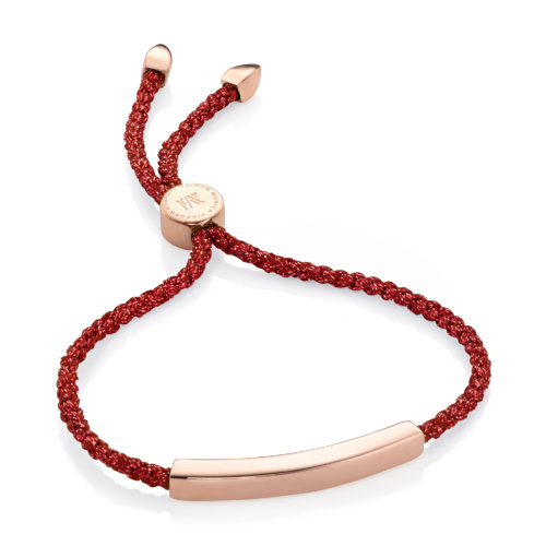 Rose Gold Vermeil Linear Friendship Bracelet - Red Metallica - Monica Vinader