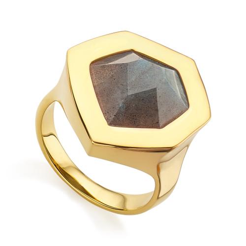 Gold Vermeil Petra Cocktail Ring - Labradorite - Monica Vinader