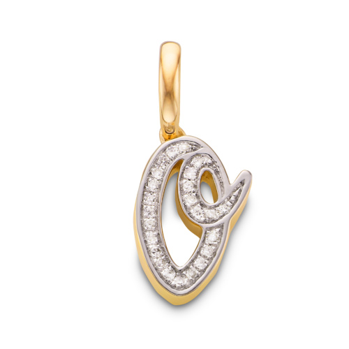 Gold Vermeil Diamond Alphabet Pendant O - Diamond - Monica Vinader