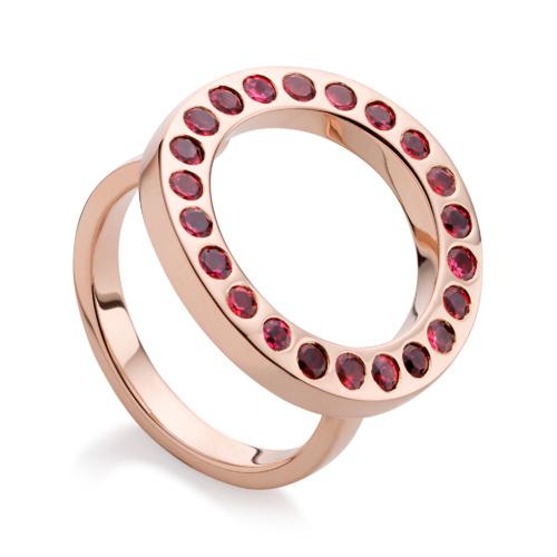 Rose Gold Vermeil Pop Circle Ring - Hyderabadi Garnet - Monica Vinader