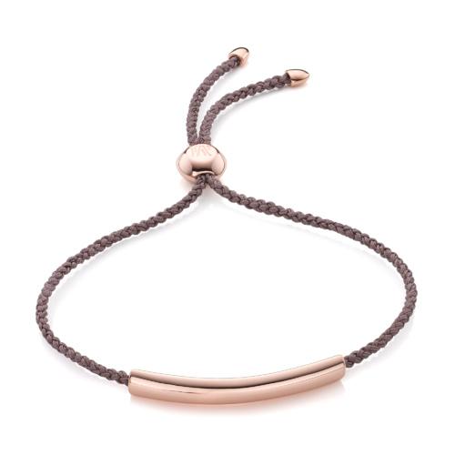 Rose Gold Vermeil Esencia Fine Corded Friendship Bracelet - Mink - Monica Vinader