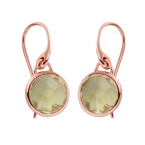 Rose Gold Vermeil Mini Luna Earrings - Green Gold Quartz - Monica Vinader