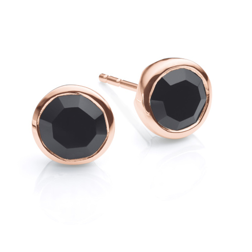 Rose Gold Vermeil Isla Stud Earrings - Black Spinel - Monica Vinader