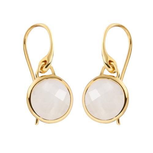 Gold Vermeil Mini Luna Earrings - Moonstone - Monica Vinader