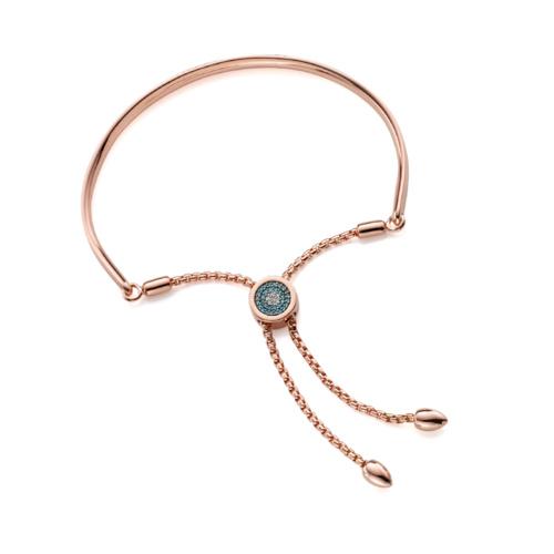 Rose Gold Vermeil Fiji Evil Eye Toggle Bracelet - Blue Diamond - Monica Vinader