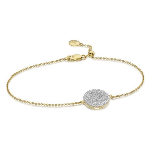 Gold Vermeil Ava Disc Bracelet - Diamond - Monica Vinader
