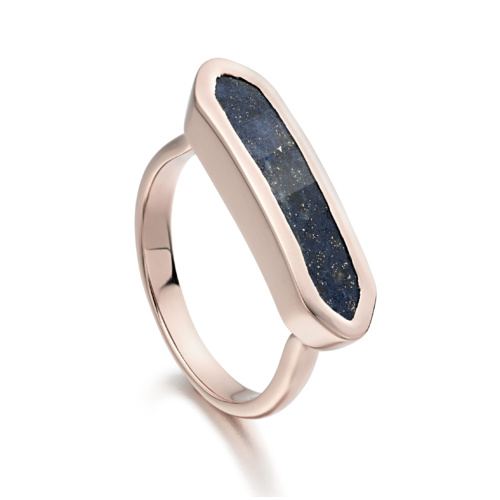 Rose Gold Vermeil Baja Ring - Lapis - Monica Vinader
