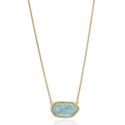 Gold Vermeil Capri Necklace - Aquamarine