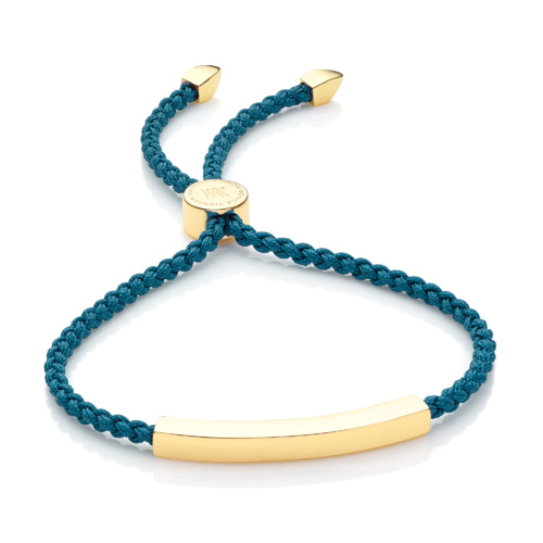 Gold Vermeil Linear Friendship Bracelet - Mallard Blue Cord