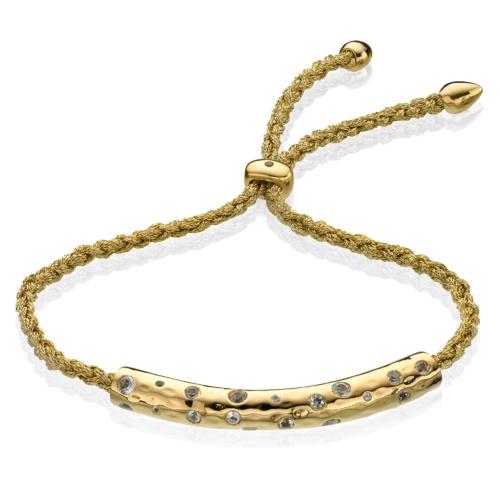 Gold Vermeil Esencia Scatter Friendship Bracelet - White Topaz - Gold Metallica - Monica Vinader