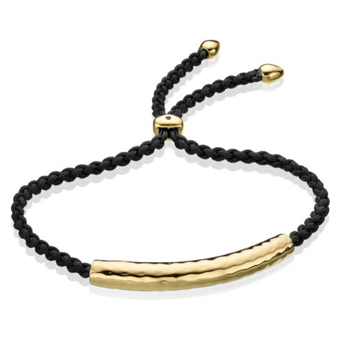Gold Vermeil Esencia Friendship Bracelet - Black - Monica Vinader