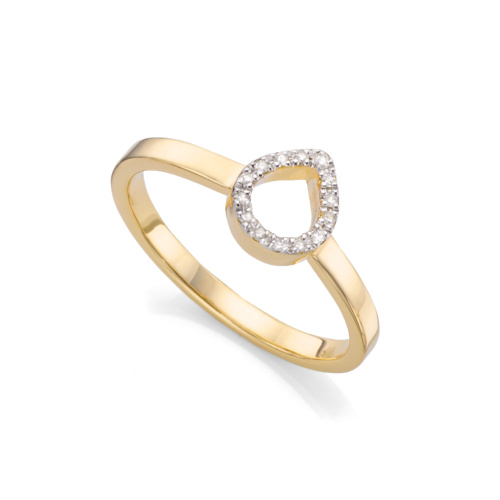 Gold Vermeil Naida Mini Lotus Open Ring - Diamond