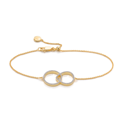 Gold Vermeil Naida Kiss Open Bracelet - Diamond