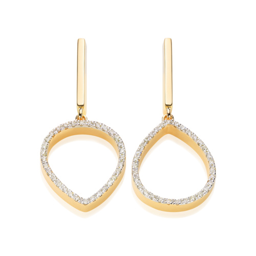 Gold Vermeil Naida Lotus Open Drop Earrings - Diamond