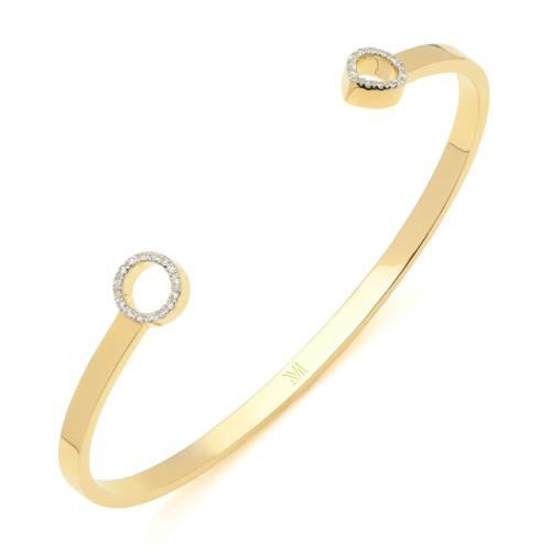 Gold Vermeil Naida Thin Open Cuff - Diamonds