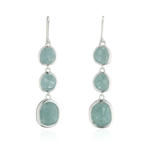 Siren Wire Cocktail Earrings - Aquamarine