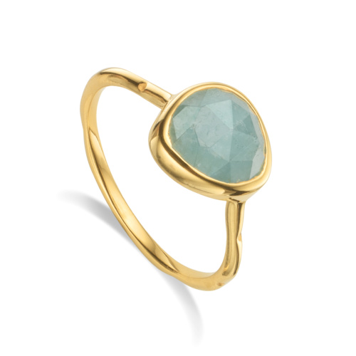Gold Vermeil Siren Stacking Ring - Aquamarine
