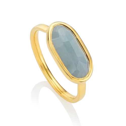 Gold Vermeil Vega Ring - Aquamarine