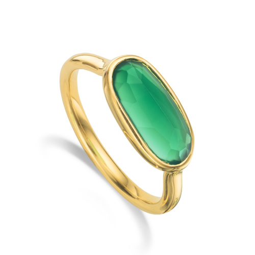 Gold Vermeil Vega Ring -Green Onyx