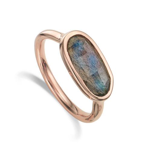 Rose Gold Vermeil Vega Ring - Labradorite