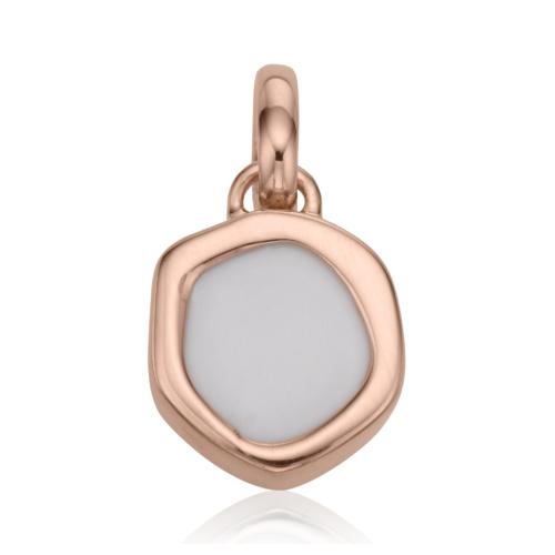 Rose Gold Vermeil Atlantis Gem Mini Pendant - White Chalcedony