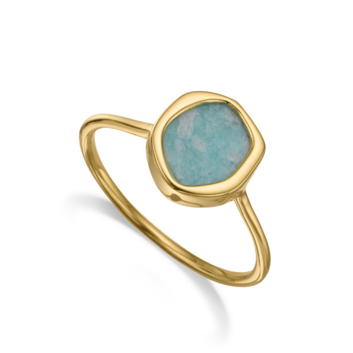 Gold Vermeil Atlantis Gem Mini Stacking Ring - Amazonite 1