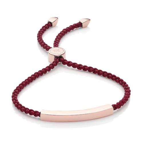 Rose Gold Vermeil Linear Friendship Bracelet - Dark Wine Cord
