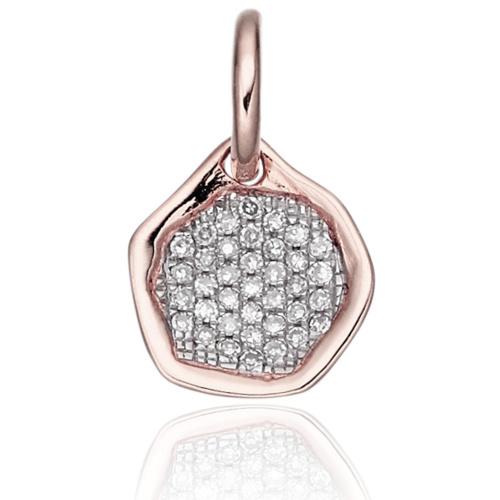 Rose Gold Vermeil Riva Diamond Mini Pendant - Diamond - Monica Vinader