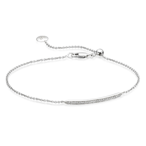 Skinny Short Bar Bracelet - Diamond - Monica Vinader