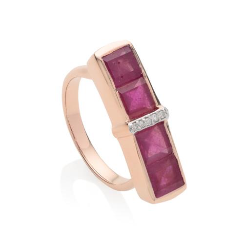 Rose Gold Vermeil Baja Precious Ring - Ruby - Monica Vinader