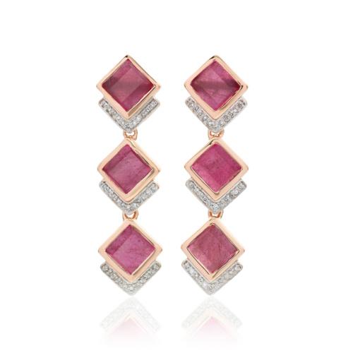 Rose Gold Vermeil Baja Precious Cocktail Earrings - Ruby & Diamond