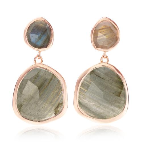 Rose Gold Vermeil Siren Medium Drop Earrings - Labradorite - Monica Vinader