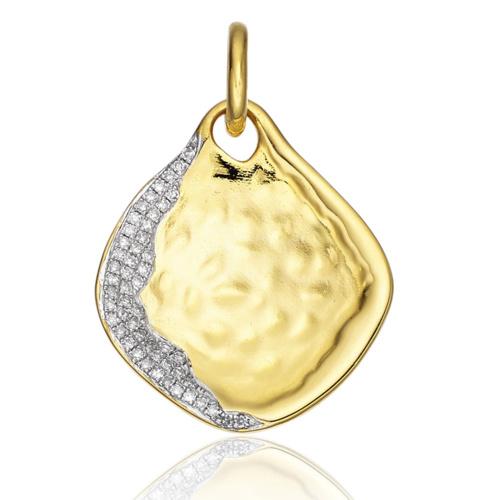 Gold Vermeil Riva Large Pendant - Diamond - Monica Vinader