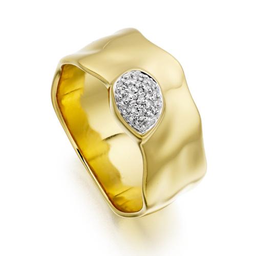 Gold Vermeil Siren Diamond Wide Band Ring - Diamond - Monica Vinader