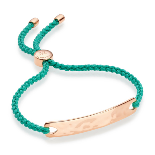 Rose Gold Vermeil Havana Friendship Bracelet - Emerald Green