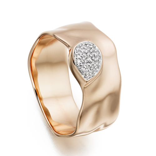 Rose Gold Vermeil Siren Diamond Wide Band Ring - Diamond - Monica Vinader
