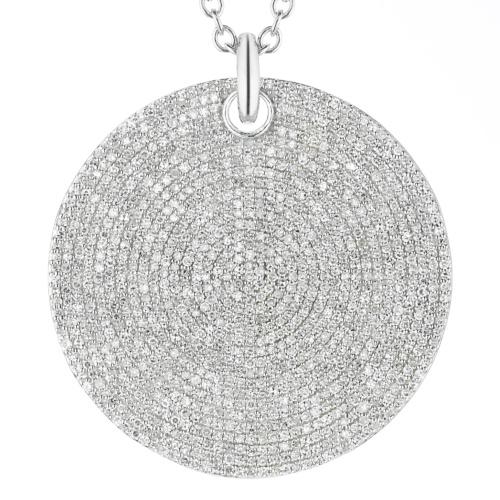 Ava Large Disc Pendant - Diamond - Diamond - Monica Vinader