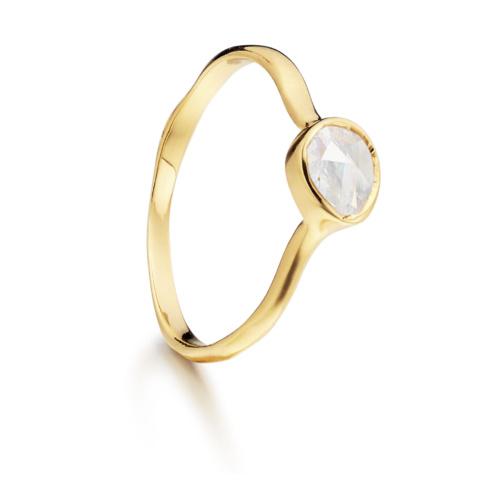 Gold Vermeil Siren Small Stacking Ring - Moonstone - Monica Vinader