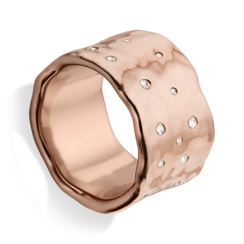 Rose Gold Vermeil Siren Scatter Wide Band Ring - White Topaz