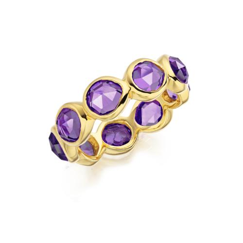 Gold Vermeil Siren Eternity Ring Large - Amethyst - Monica Vinader