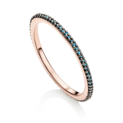 Rose Gold Vermeil Skinny Eternity Ring - Blue Diamond - Monica Vinader